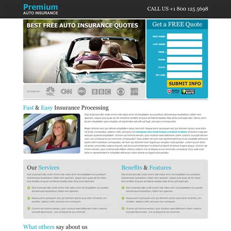 free auto insurance quotes type landing page