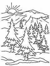 Coloring Mountain Mountains Pages Printable Scene sketch template