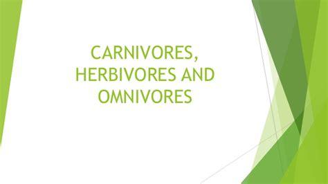 Carnivores, Herbivores And Omnivores