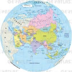 Asia On a World Globe Map