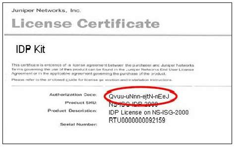 Software License Certificate Template by Juniper Networks How Do I Find The Idp License And Nsm