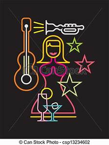Vector Clipart of Night Club neon sign vector illustration on black background csp Search Clip Art Illustration Drawings and Vector