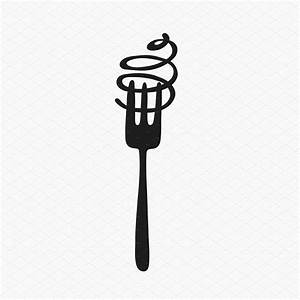Spaghetti and fork logo ~ Icons ~ Creative Market