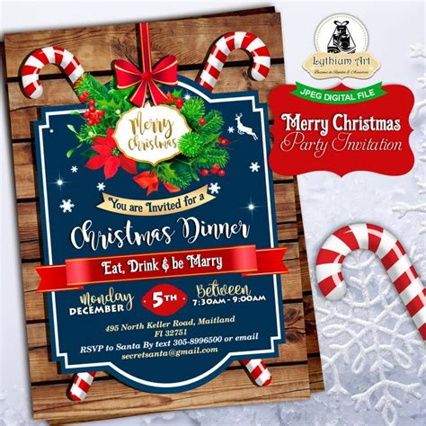 free christmas dinner invitations christmas invitation christmas party invitation secret