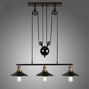 Loft, Vintage, Pulley, Pendant, Ceiling, Light, Hanging, Lamp, Artistic, Lighting, Fixture