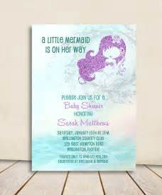 Mermaid Baby Shower Invitation - Turquoise and Purple Glitter Little Mermaid Printable Invite