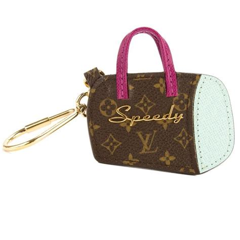louis vuitton purple  light blue monogram canvas porte cles speedy  luxedh