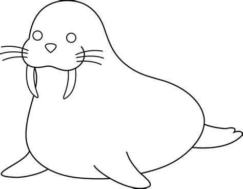 Coloring Outlines by Walrus Clipart Clipartion