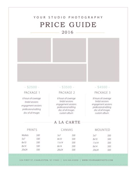 bureau price photography price list template by design