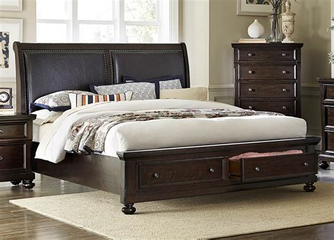 Faust Dark Cherry Cal. King Storage Platform Bed From