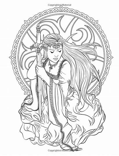 Coloring Pages Fantasy Gothic Adult Books Dark