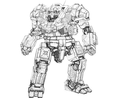 Printable Mechwarrior Online Atlas Actions Coloring