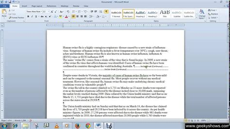 Microsoft Office Word 2010 Remove Page Breaks And Section