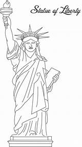 Liberty Statue Coloring Pages Printable Simple sketch template