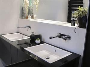 renovation salle de bain grand meuble suspendu avec With salle de bain design avec evier de cuisine en resine