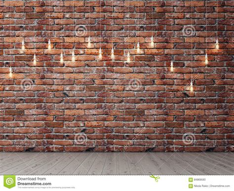 red brick empty wall with light bulbs background stock