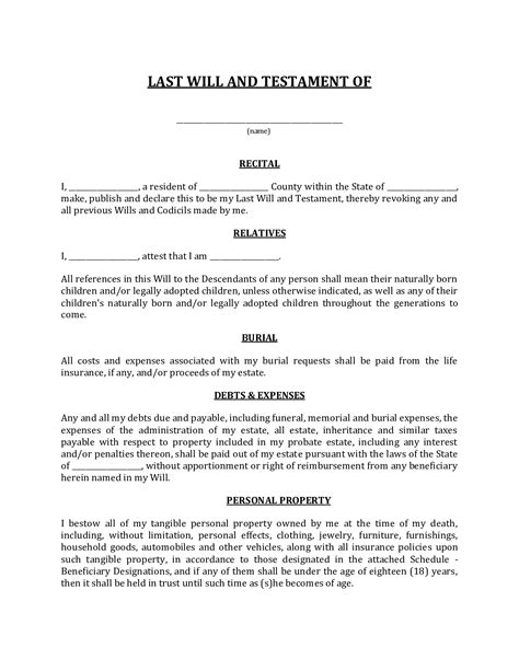 Completing a last will and testament is a straightforward process that requires simple, yet detailed information from the testator to ensure there is no confusion. Florida Last Will And Testament Form - Fillable Pdf ...