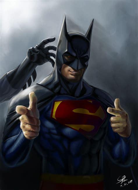 superman steals batmans cape  cowl  strike  pose geektyrant