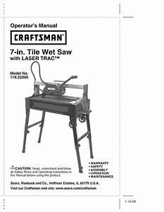Craftsman Saw 118 22000 User Guide