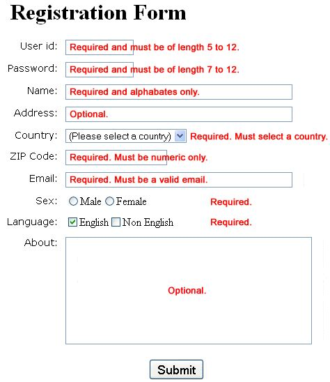 javascript a sle registration form validation