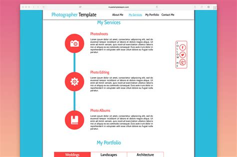 One Adobe Muse Theme Website Templates Creative Market Photographer One Page Muse Template Website Templates On