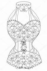 Corset Template Coloring Adults sketch template