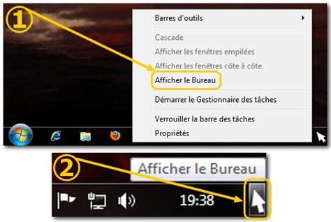 afficher le bureau windows 7 ajouter le raccourci afficher le bureau dans