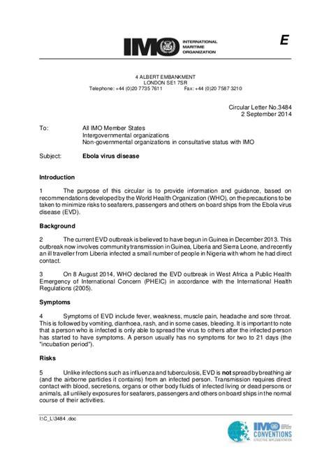 IMO - Circular Letter about Ebola Virus Disease