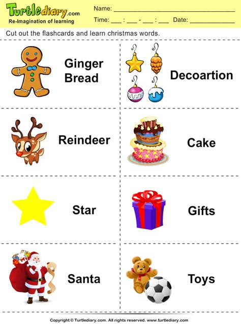 christmas flashcards ginger bread worksheet turtle diary