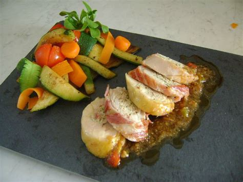 cuisine gastronomique ballotine de volaille farcie au banyuls et légumes