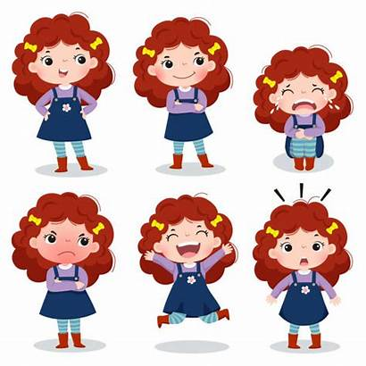 Curly Emotions Different Showing Fille Cartoon Clip