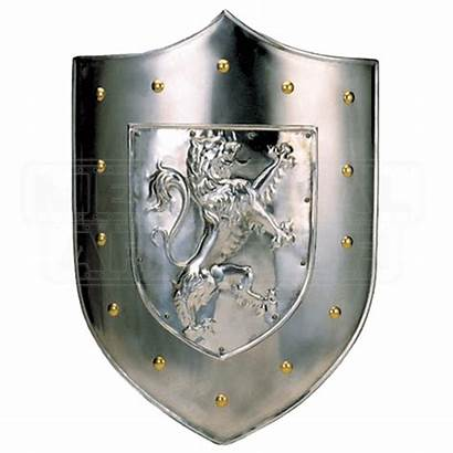 Shield Lion Rampant Steel Medieval Plain Metal