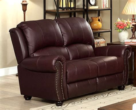 Leather Loveseat With Nailhead Trim by Carlton Traditional Burgundy Sofa Loveseat In Top Grain