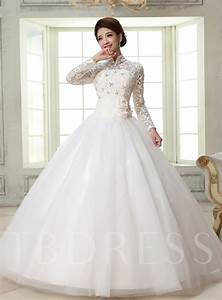 Ball Gown High-Neck Long Sleeves Lace Wedding Dress ...