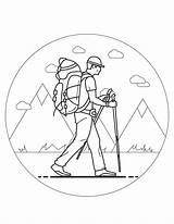Outdoors Hiking Coloring sketch template