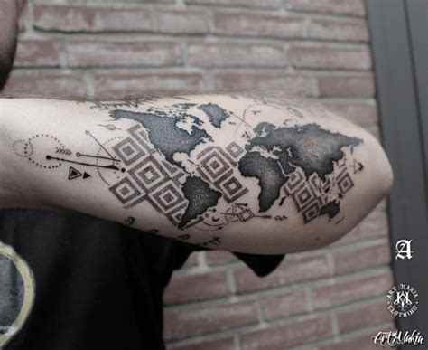 dotwork tattoo world map  tattoo ideas gallery