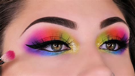 beginners eye makeup rainbow eye makeup beautybyjosiek neon eye makeup tutorial