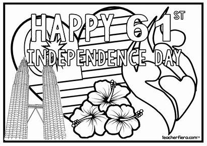 Malaysia Colouring Independence English Malay Sheets Version