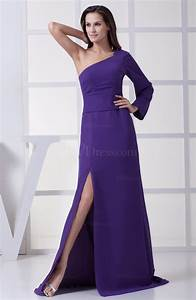 royal purple modern a line one shoulder zipper split front With one shoulder dress for wedding guest