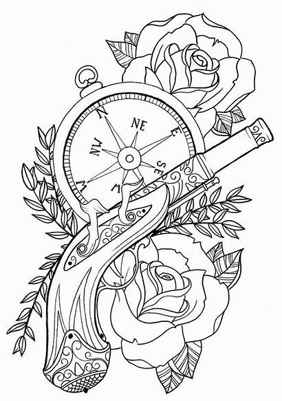 Coloring Pages Rose Compass Trendy