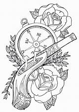 Coloring Rose Compass Pages Trendy Tattoos Tattoo Adult Cool Music Mermaid Feather Gun sketch template