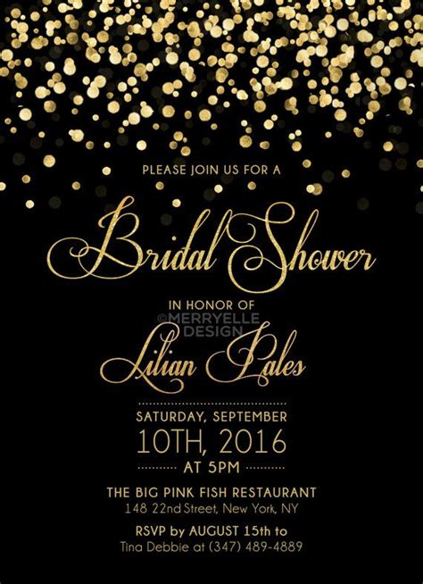 Black and Gold Bridal Shower Invitation Printable Bridal