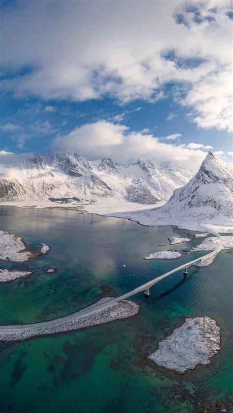 aerial view  fredvang bridge  volanstinden mountain