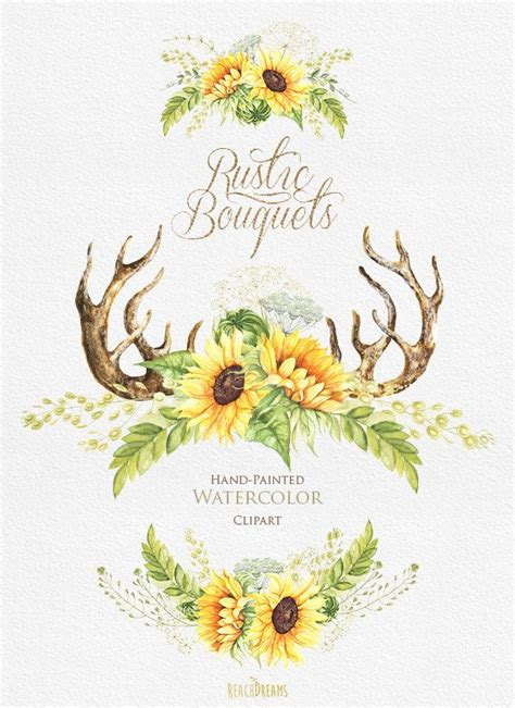 watercolor rustic bouquets sunflower  horns wild