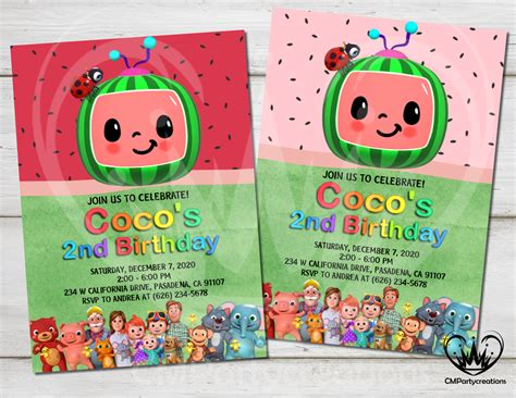 Cocomelon Invitation Birthday Party CMPartycreations