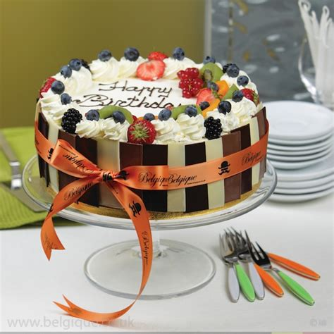 fresh fruit gateau celebration cake by belgique assorted chocolate decoration available for