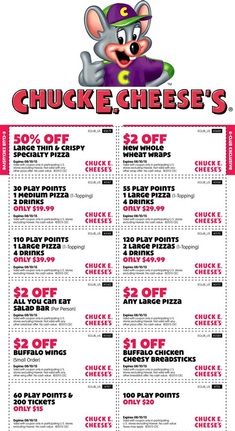 Chuck E Cheese Coupons  50% Off Large Pizza, 100 Tokens