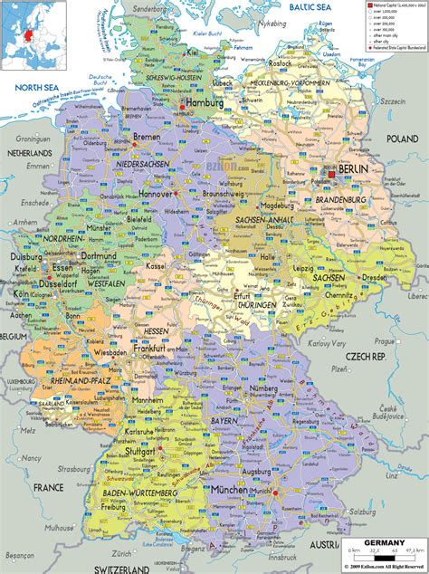 political map  germany ezilon maps