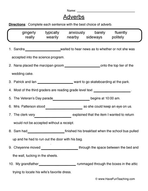 adverb worksheets teaching