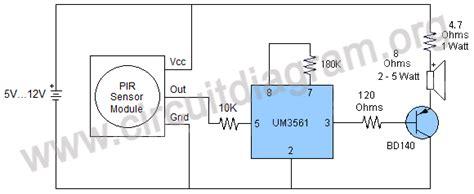 Loud Security Alarm Using Pir Sensor Module Circuit Diagram